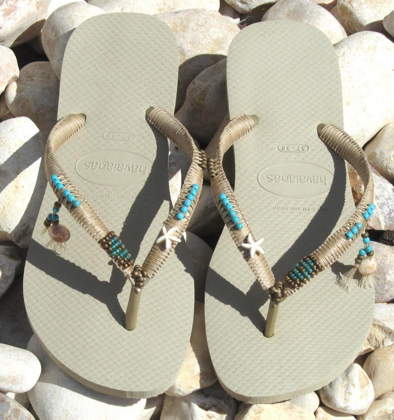 74837194ac1 Havaianas Wedding Flip Flops Boho Wedding Shoe Decorated