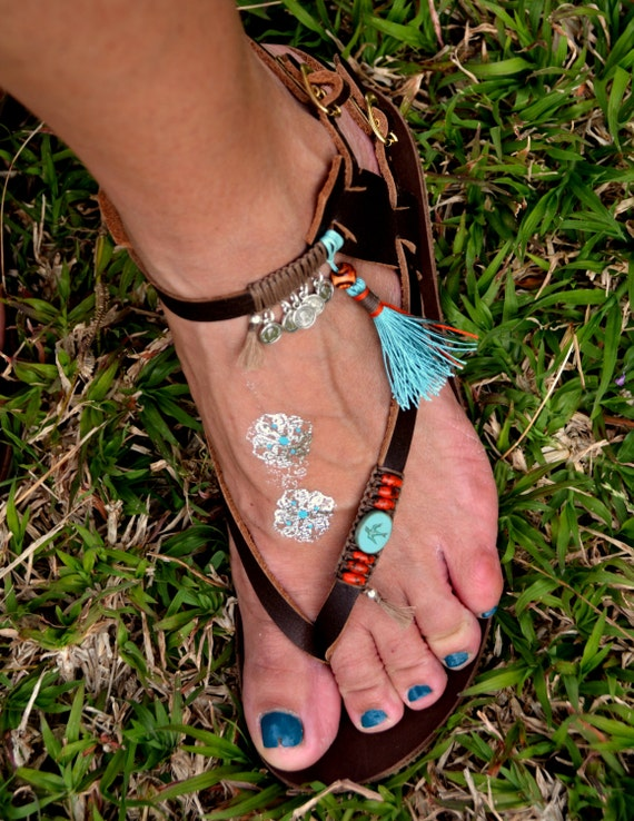 Coins Genuine Decorated Multi Silver 100 Handmade Handmade Sandals Colored Leather Tassels Beads Bohemian and with xxgqT7n