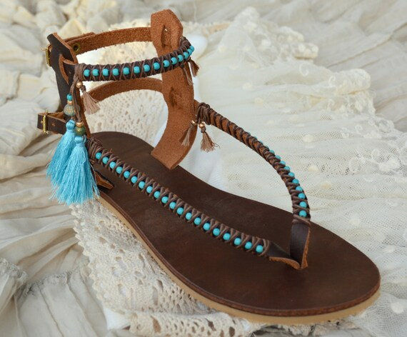 Women Sandals Sandals Boho Accessories Turquoise Bohemian Sandals Sandals Bohemian Gladiator Sandals Sandals Flats Sandals Leather TZqnwPWWHd