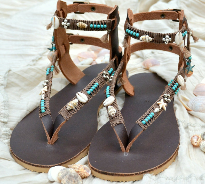 517fa5aaa9477 Boho Leather Sandals, Gladiator Sandals, Bohemian Sandals, Festival  Sandals, Greek Sandals, Pom Pom Sandals, Summer Sandals