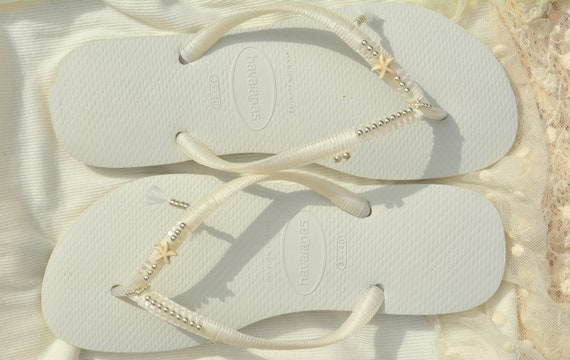 Flip Dress Havaianas Flops Flip Fip Beaded Sandals Wedding Flops Flip Bridal Flops Flip Wedding White Flops Bridesmaid Flops fS4qzPx