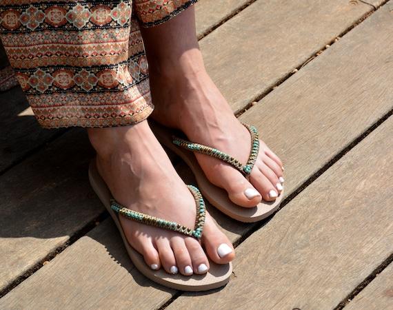 Beaded Flip Chic Flops Gols Sandals Sandals Sandals Flops Wedding Beaded Boho Rose Sandals Flip Havaianas Hippie Flop Flops Bohemian B0dUrxB