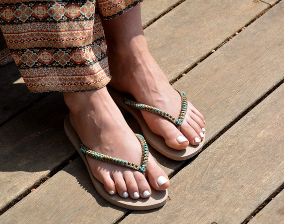 Flip Flops Sandals Havaianas Bohemian Gols Beaded Flop Hippie Sandals Sandals Boho Beaded Chic Flops Flops Sandals Flip Rose Wedding q6nwx458XH