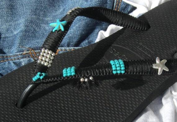 Black Flops Handmade Flip Thongs Sterling based Havaianas Sandals Handmade Bohemian Flat amp; Beaded Decorated Silver Turquoise on 100 YqA7x