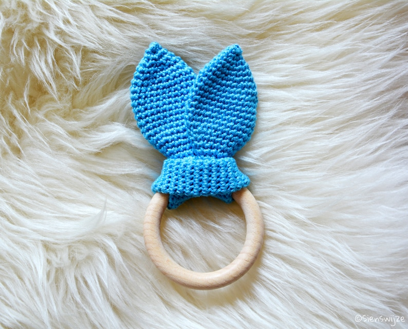 Activity Toys Wooden Teething Ring Bunny Ears 100% Cotton Coloured Stars On White Handmade High Quality And Inexpensive