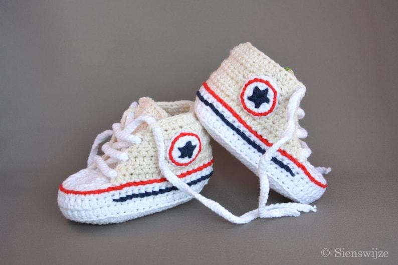 Crema Bambino Stile Converse Sneakers Scarpette Per Neonati Etsy