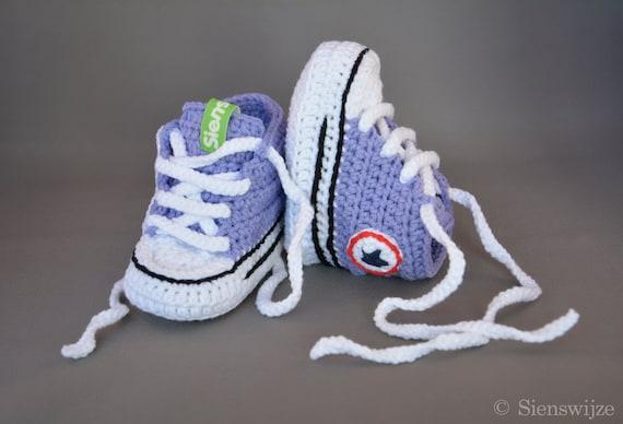 Lila Baby Converse Stil Turnschuhe Häkeln Babyschuhe Etsy