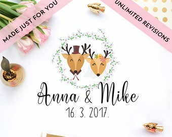 CUSTOM wedding portrait personalized wedding portrait wedding invitations save the date watercolor illustration woodland animals