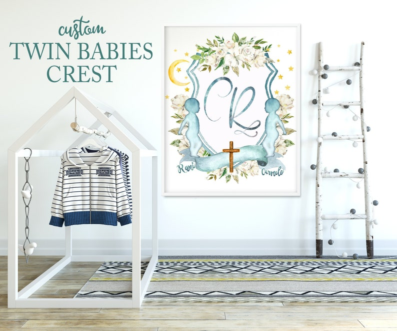 SALE!!! CUSTOM Twin Babies Crest Twins Crest Newborn Crest Custom Baby  Crest Watercolor Crest Twins Baby Gifts