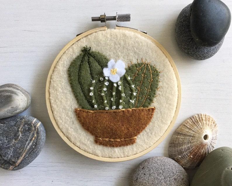 Succulents textile art  Potted Succulents  Cactus Art  image 0