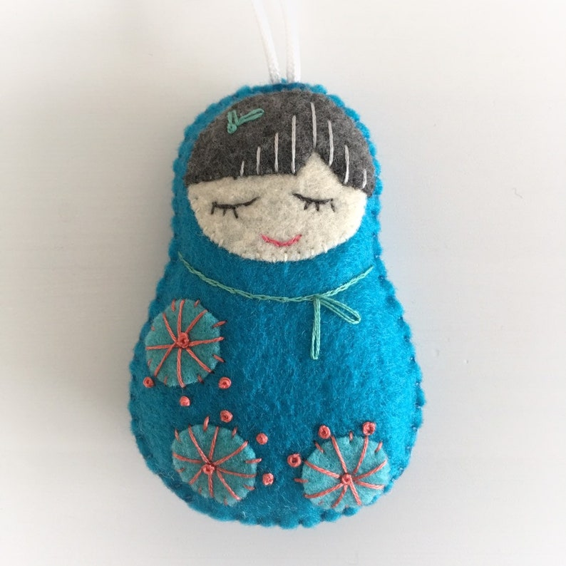 Miniature Hand Embroidered Doll Door Knob Decor  Nursery image 0