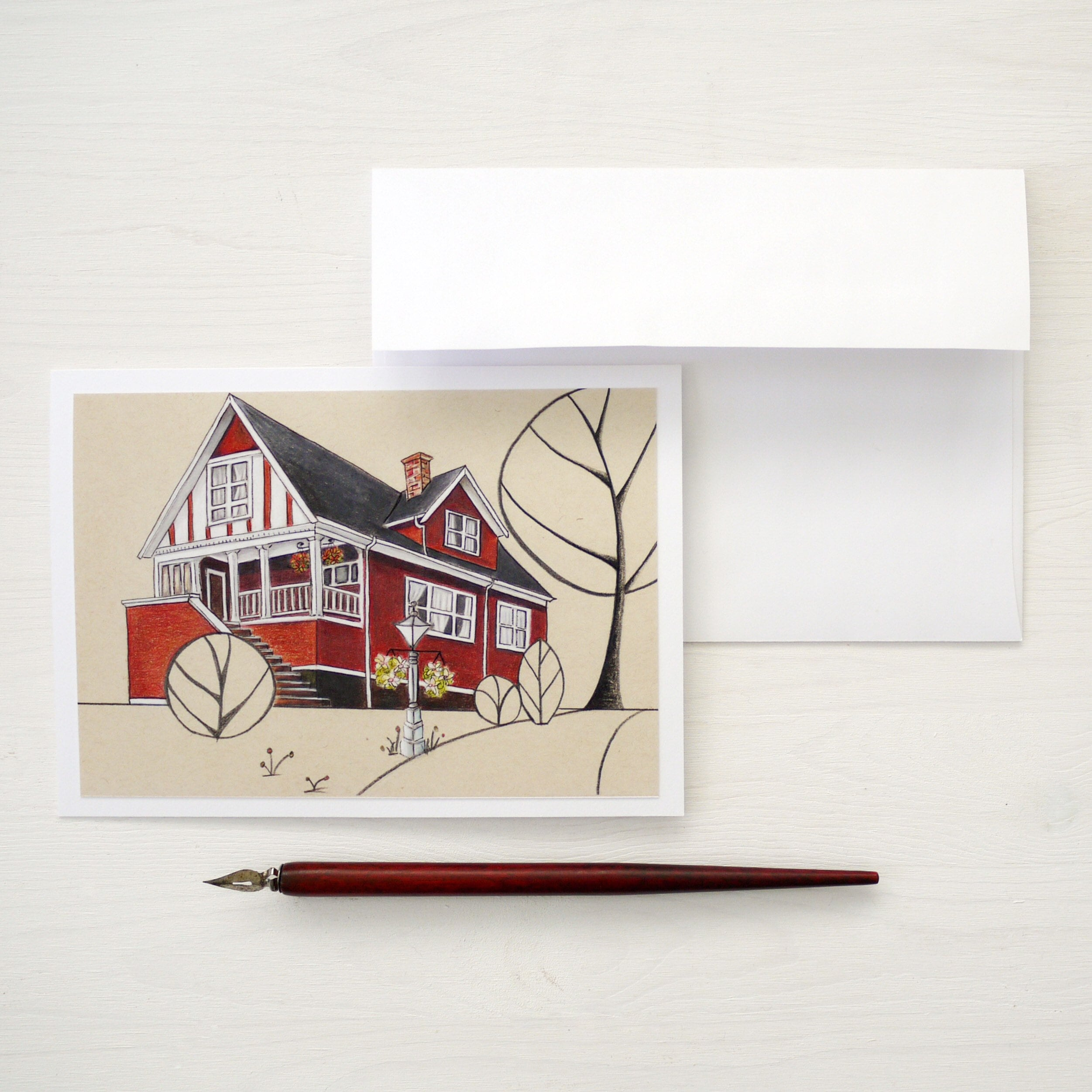 Greeting Cards Original Illustrations Of Houses Archival Etsy