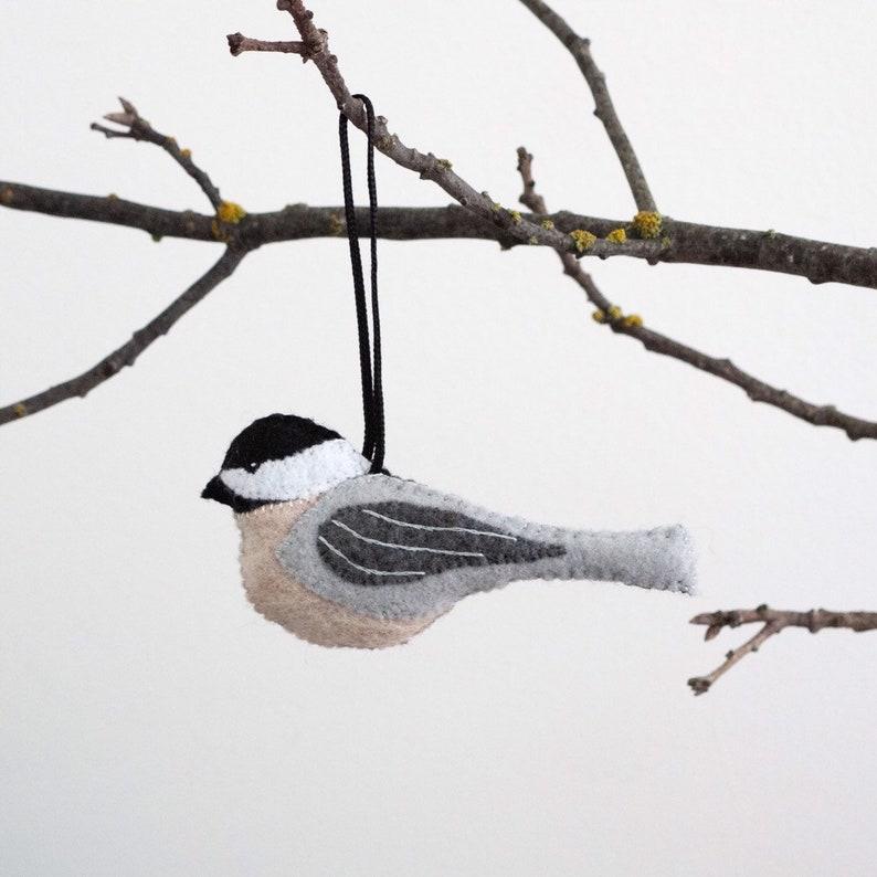 Chickadee Ornament  Hand Embroidered Folk Art  Bird Accent  image 0