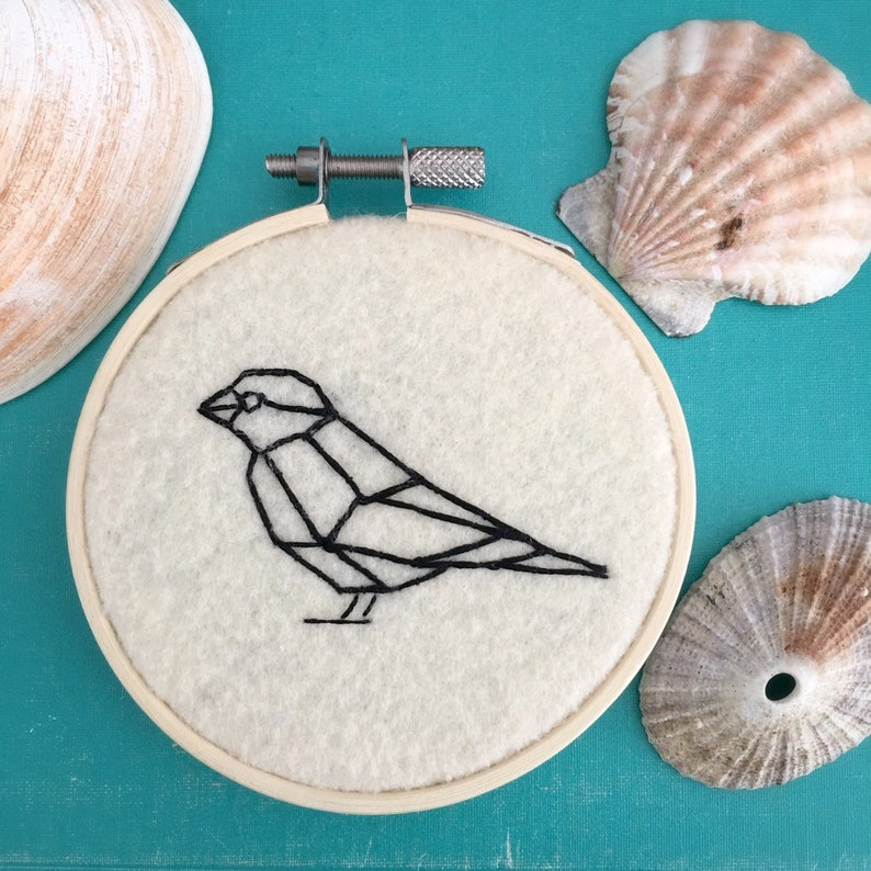 Sparrow Geometric Textile Art  Sparrow Art  Bird Home Decor image 0