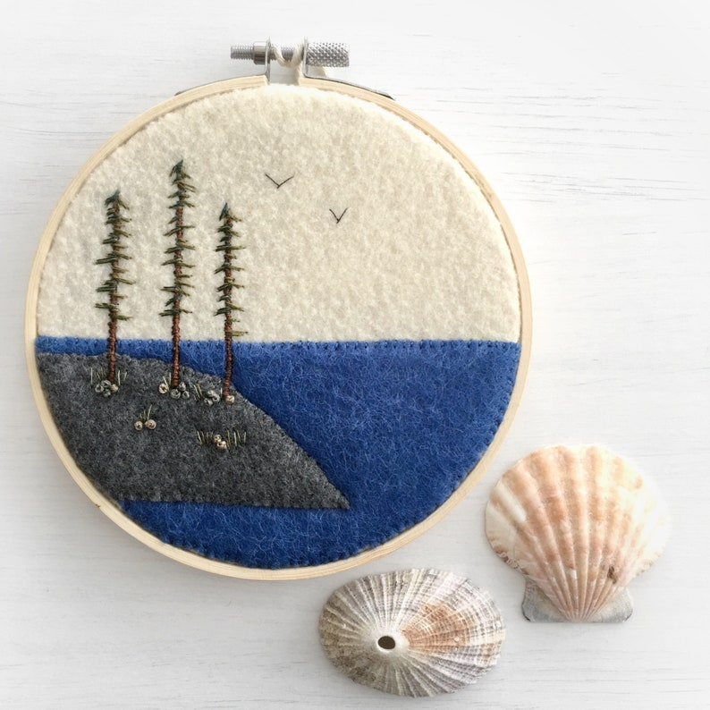 West Coast Sitka Spruce  Hand Embroidered Art  Coastal Decor image 0