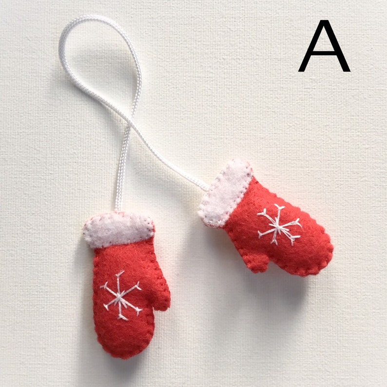 Miniature Mittens Ornament  Hand Embroidery  Winter Accent  image 0