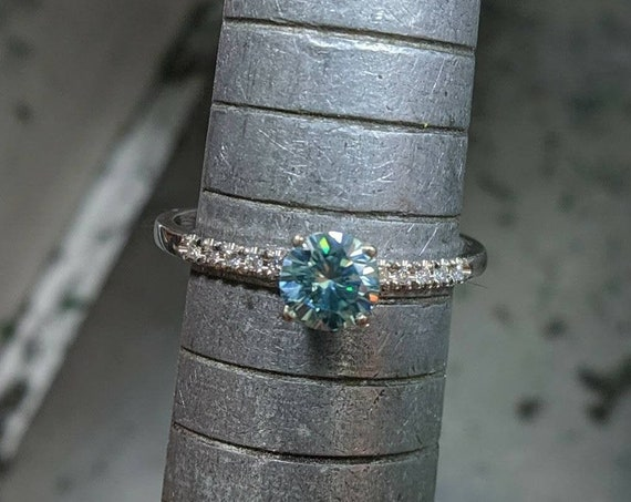 Blue Moissanite Round Brilliant Pave Gold Ring