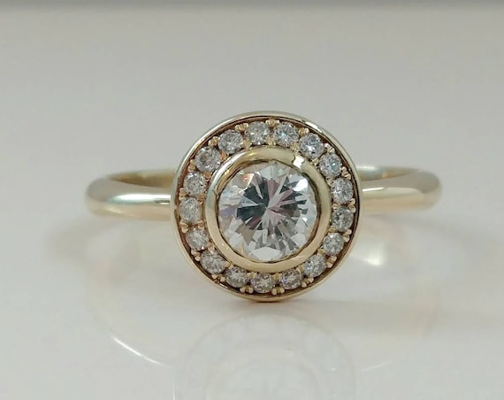 Halo Ring ~ Micro Pave Ring ~ Pave Diamond ~ Artisan Diamond Ring ~ Large Diamond Ring ~  Lady's Diamond Ring ~ Lady's Engagement Ring