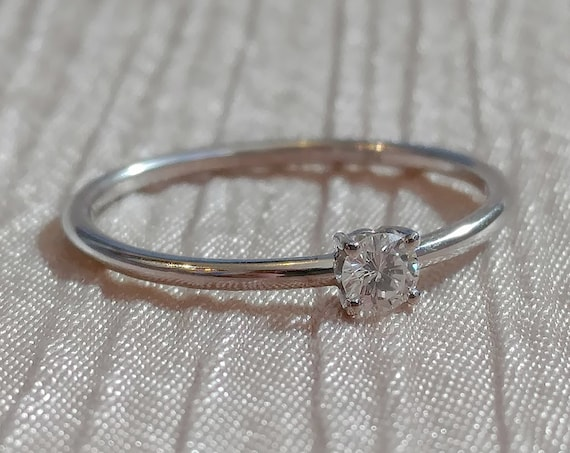 Moissanite engagement ring delicate round brilliant ring dainty diamond ring alternative promise ring minimalist solitaire ring