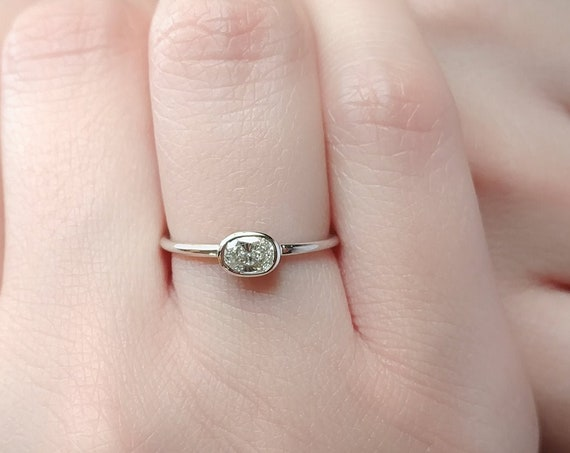 Moissanite Oval Engagement Ring | Rose Gold Oval Wedding Ring | Minimalist Bridal Ring