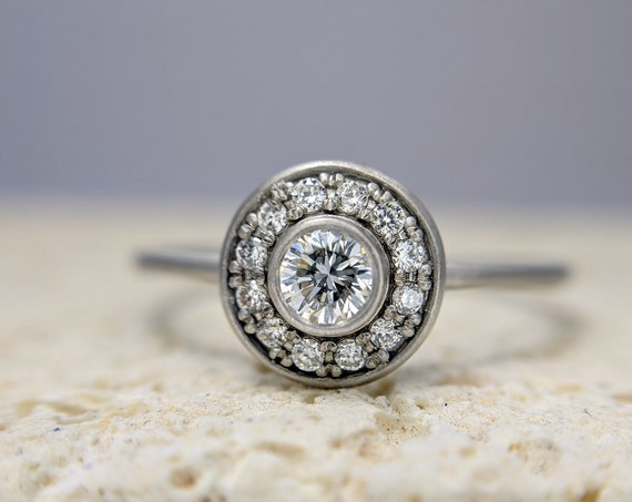 Round Diamond Engagement Ring Halo Pave Ring Simple Minimalist Dainty Thin Delicate Bridal Gold Ring Jewelry