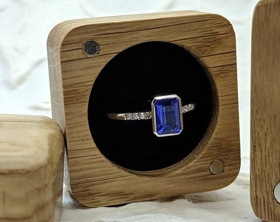 Tanzanite Gemstone Ring Octagon Engagement Ring Purplish Blue Gemstone Emerald Cut White Gold Ring