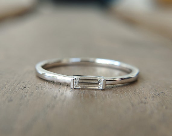 Dainty Baguette Diamond Engagement Ring Thin Simple Delicate Minimalist Gold Ring