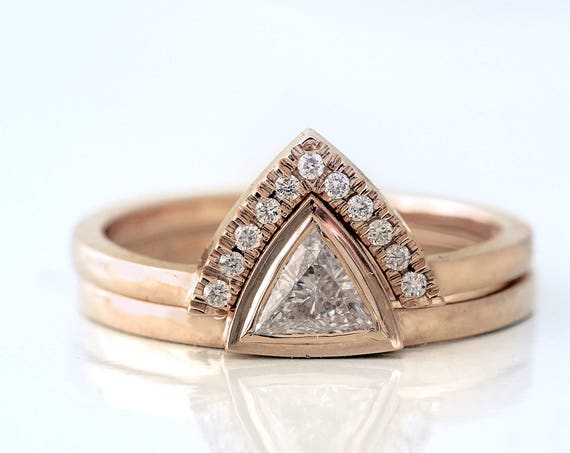 Trillion Engagement Set ~ Triangle Engagement Ring ~  Trillion Diamond Wedding Set ~ Triangle Ring Set ~ Simple Trillion Ring