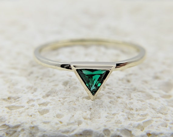 Green Emerald Triangle Ring ~  Trillion Yellow Gold Ring ~ Green Emerald Gemstone Ring ~ Ready To Ship