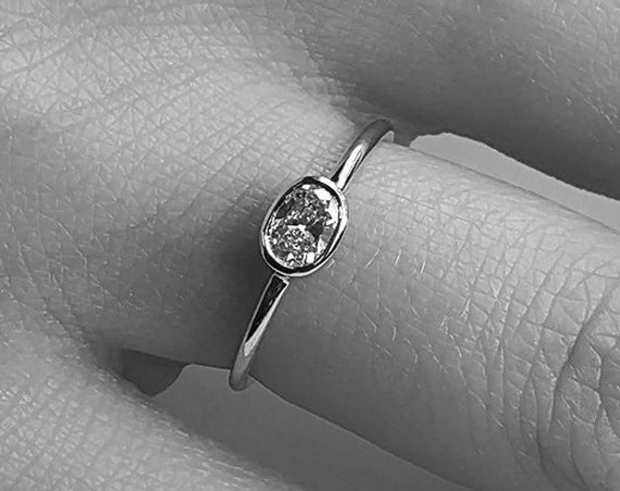 Moissanite Engagement Ring Oval Shape gem  Rose Gold Minimalist Dainty Simple Thin Promise Gift