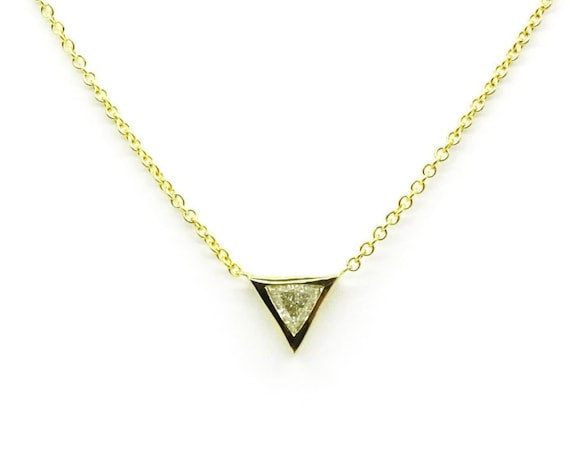 Promo sale ! Trillion Diamond Necklace ~ Triangle Pendant ~ Simple Diamond Necklace ~ Diamond Pendant ~ Thin Gold Diamond Necklace
