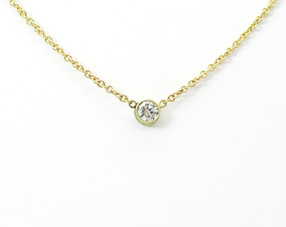 Dainty Thin Round Diamond Necklace  ~ Gold Diamond Pendant ~ Simple Minimalist Diamond Necklace ~ Petite Diamond  Necklace