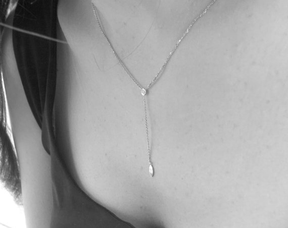 Minimalist Diamond Necklace ~ Simple necklace ~ Vertical drop ~ Diamond pendant ~ Personalized Thin necklace ~ By Kat Jewelry Desings