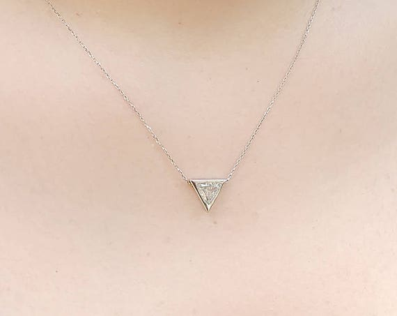 0.50 Carat Trillion Diamond Necklace ~ Triangle Pendant ~ Simple Diamond Necklace ~ Diamond Pendant ~ Thin Gold Diamond Necklace