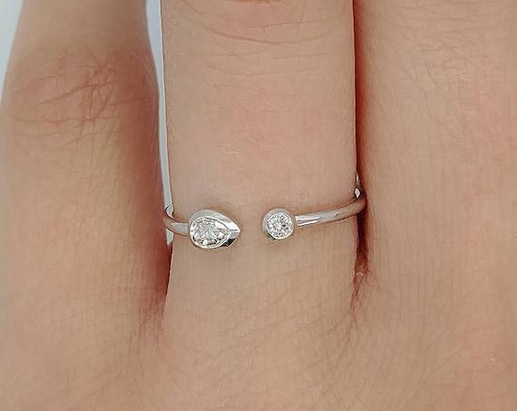 Open Diamond Cuff Ring Pear & Round Diamond Engagement Ring Two Diamond Wedding Rose Gold Band