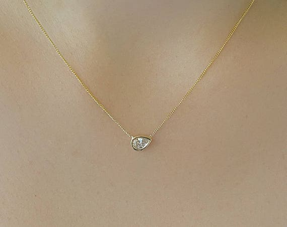 Pear Shape Diamond Necklace Simple Tear Drop Pendant Dainty Unique Simple Rose Gold Bridal Wedding Gift Promise