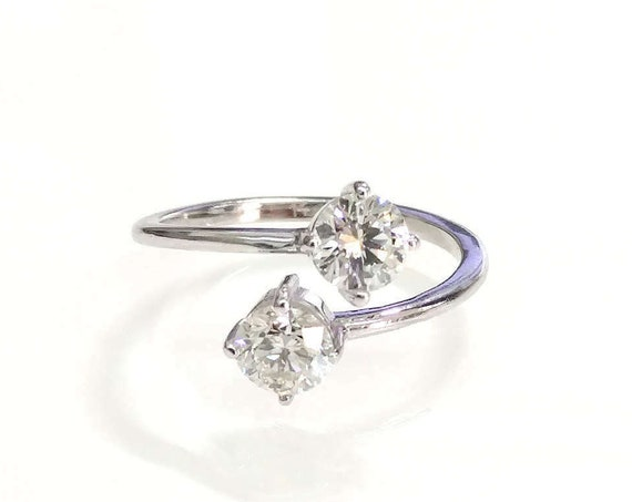 Dual Diamond Engagement Ring   Two Stone Ring   Toi et Moi   Open Double Diamond Ring   Cuff Engagement Ring   You & Me Wedding Ring
