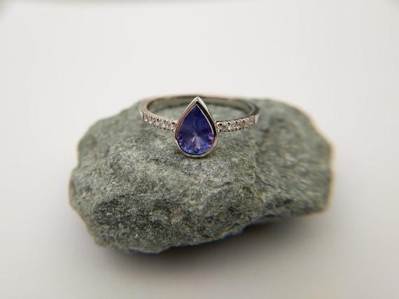 Tanzanite Pear Gemstone & Pave Diamonds Engagement Ring | December Birthstone Ring | Gift for women