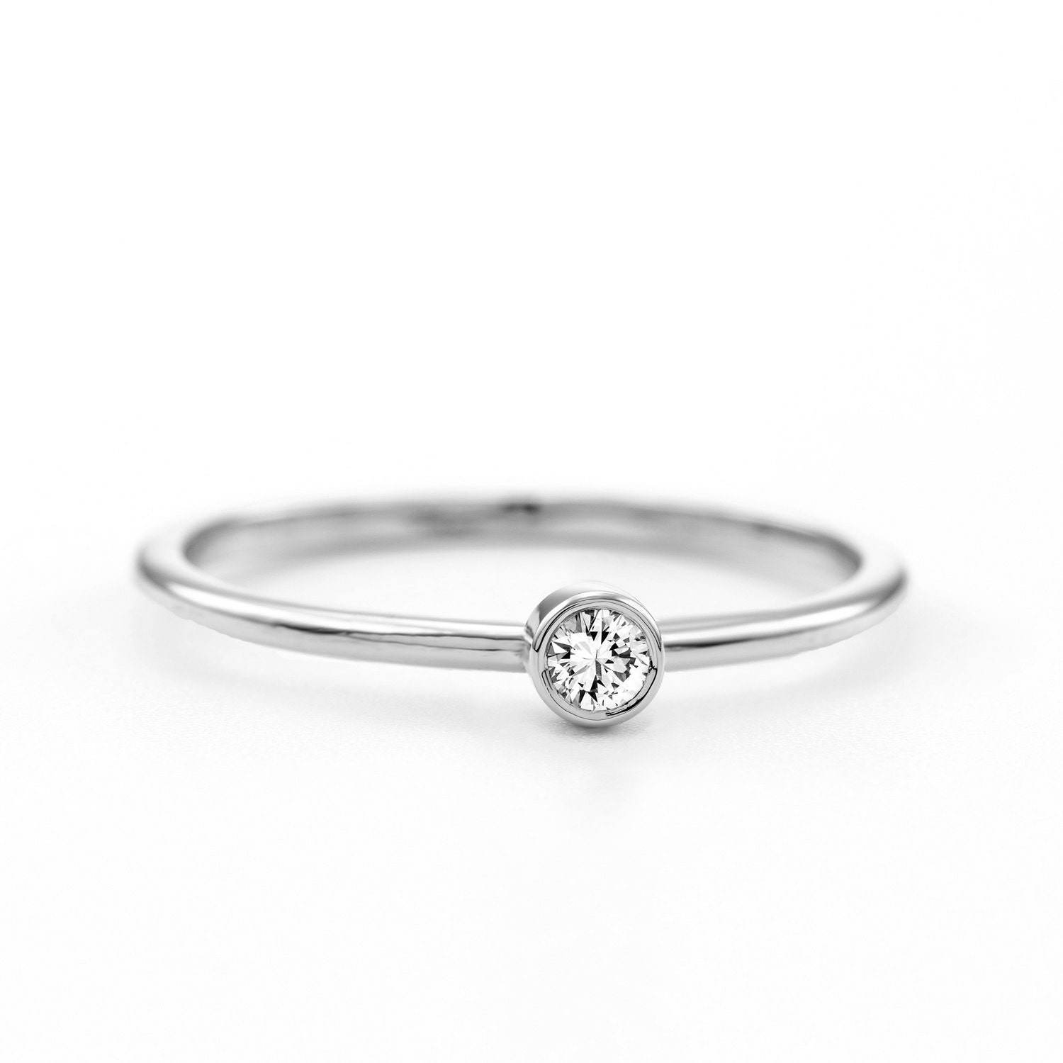 Dainty Diamond Engagement Ring Thin Delicate Certified