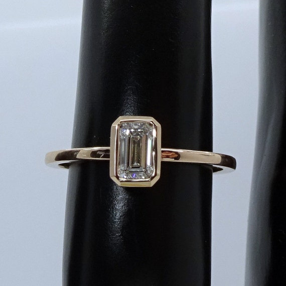 Moissanite octagon ring bridal engagement ring delicate emerald cut ring octagon gemstone gold ring
