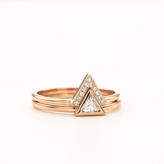 Triangle Diamond Engagement Ring Set Rose Gold Trillion Diamond Ring V shape Diamond Band White Gold Triangle Bridal Ring