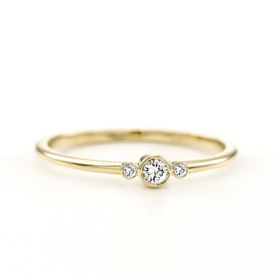 Minimalist Three Stone Ring | Delicate 3 Diamonds Ring | Thin 3 Stone Ring | Simple Three Stone Ring | Three Diamonds Engagement Ring