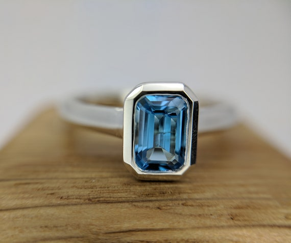 Blue Topaz Octagon Ring | November Birthstone Ring