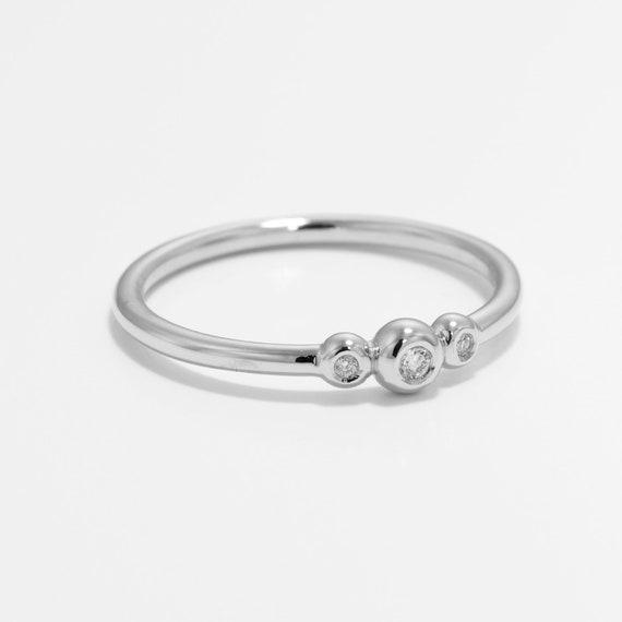 Rose Gold 3 Diamond Ring ~ Three Diamond Ring ~ Minimalist Diamond Engagement Ring