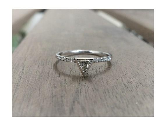 Triangle Pave Diamond Ring | Minimalist Triangle Diamond Engagement Ring