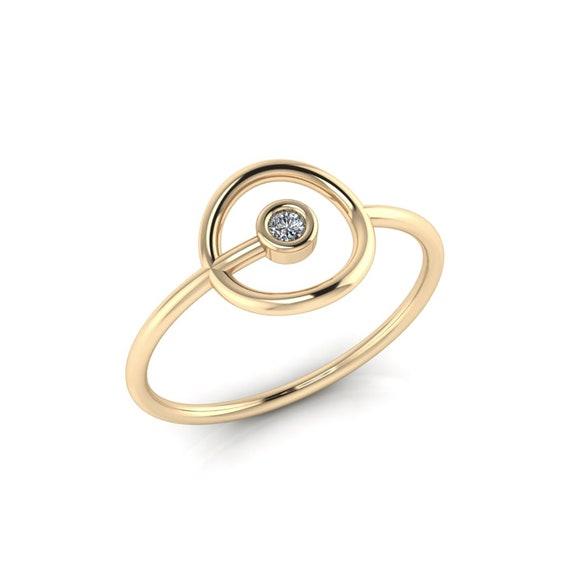 Dainty Circle Diamond Ring ~ Rose Gold Diamond Ring ~ Circle Engagement Ring Alternative ~ Minimalist Diamond Ring