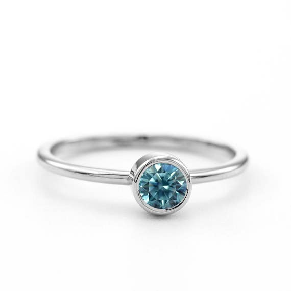 Fancy Blue Diamond Engagement Ring ~ Round Brilliant Blue Diamond Ring ~ Blue Diamond Solitaire Ring ~ Simple Diamond Ring
