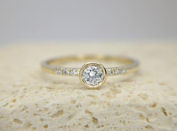 Dainty Pave Diamond Ring Round Brilliant Rose Gold Ring Thin Delicate Diamond Engagement Ring Minimalist Simple Bezel Set Ring