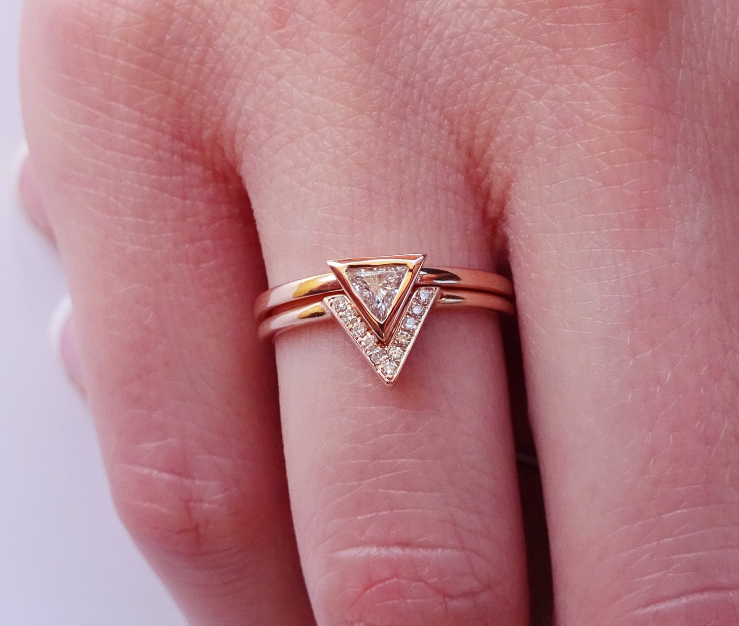 Dainty Delicate Natural Triangle Diamond Ring Set Simple Engagement ...