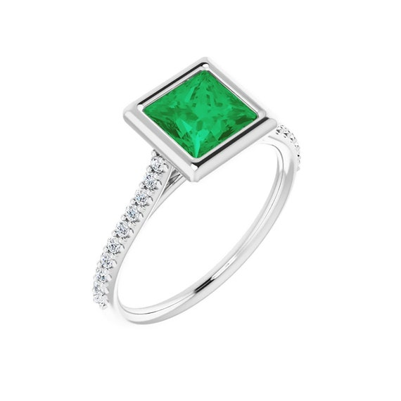 Green Emerald Princess Cut Ring | Emerald & Diamond Ring | Square Emerald Pave Ring | Gift for women